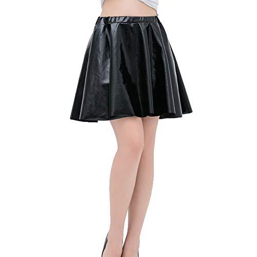 ZAMAC Liquid Wet Look Plissee - Falda de Skate (Metal) Negro S