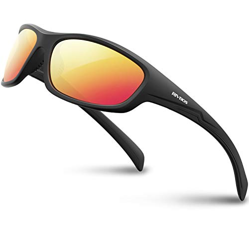 RIVBOS Polarized Sports Sunglasses for Men Women Driving Shades Cycling Baseball 832-1 Black Ice Red Lens