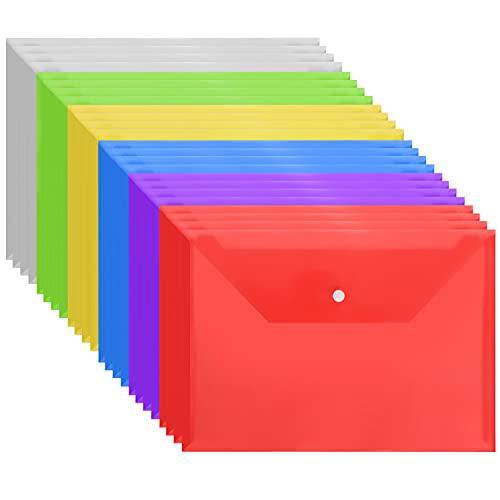 Belle Vous Busta Trasparente con Bottone A4 (Confezione da 24) - Cartelletta con Bottone in Colori Assortiti - Portadocumenti Casa, Ufficio e Scuola - Documenti, Ricevute, Certificati e Buste