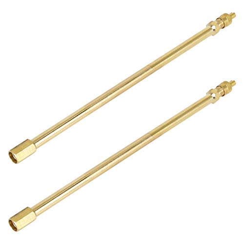 X AUTOHAUX 2pcs 200mm Auto Air Tire Valve Extension Adapter Gold Tone for Car Motorcycle Bike Scooter