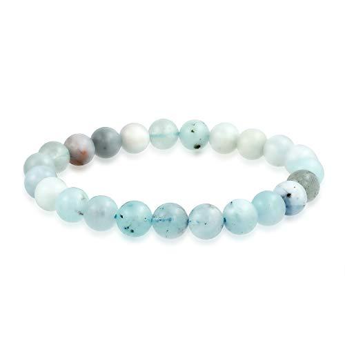 Bling Jewelry Azul Claro Sombras Naturales Aguamarina Piedra Preciosa Redonda Bola de Cuentas 8MM apilamiento Pulsera de Estiramiento para Mujeres Hombres Adolescente Unisex