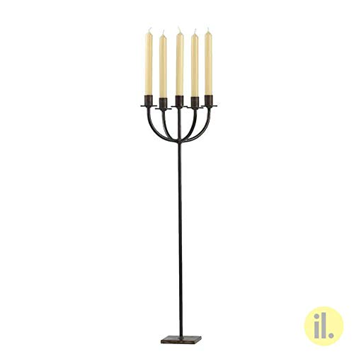 il-lumina Kerzenständer aus Schmiedeeisen, 71 cm, 5 Arme für Kerzen, Durchmesser 2,2 cm, Referenznummer 024-375