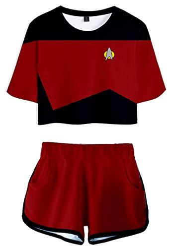 Silver Basic Conjunto de Traje de Dos Piezas de Uniforme de Star Trek para Mujer, Camiseta y Pantalón Corto, Pijama de Mujer, Capitán Kirk Spock Cosplay TopM,7568Picard Costume-4