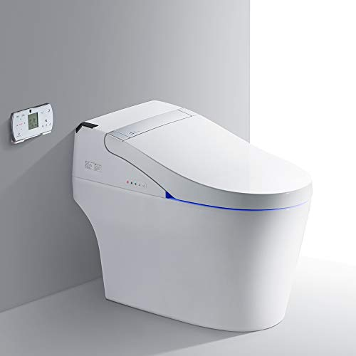 WOODBRIDGE B-0960S B0960S Smart Bidet seat Toilet with Integrated Dual Flush with Remote Control, White