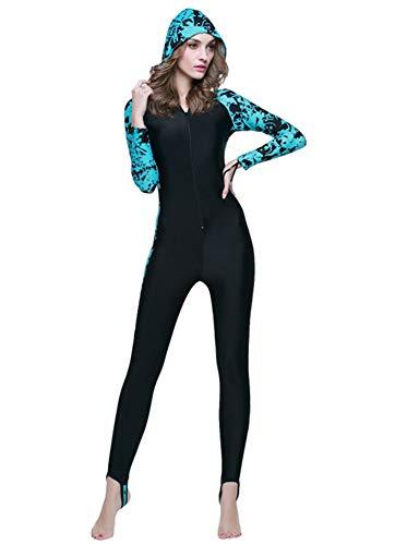 YEESAM Modest Swimwear - Taucheranzug Damen Herren Mädchen UV Schutzkleidung Sunsuit Ganzkörperansicht Badeanzug Overall Watersport (Int'l - 3XL, mit Kapuze 2)