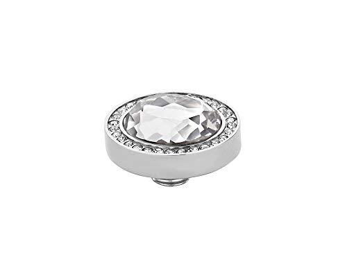 MelanO Vivid zum draufschrauben Aufsatz/Fassung Oval Edelstahl mit Zirkonia facettiert in Farbe kristall M01SR 9052