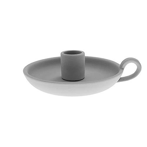 Storefactory - Kerzenleuchter, Kerzenständer - Ljunggarden - Grau - Maße (LxBxH): 14 x 12 x 4 cm - Keramik