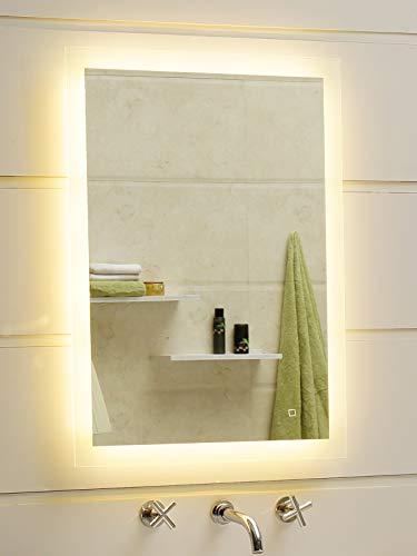 Dr. Fleischmann Badspiegel LED Spiegel GS084N mit Beleuchtung durch satinierte Lichtflächen Badezimmerspiegel 50 x 70 cm mit Touch-Schalter