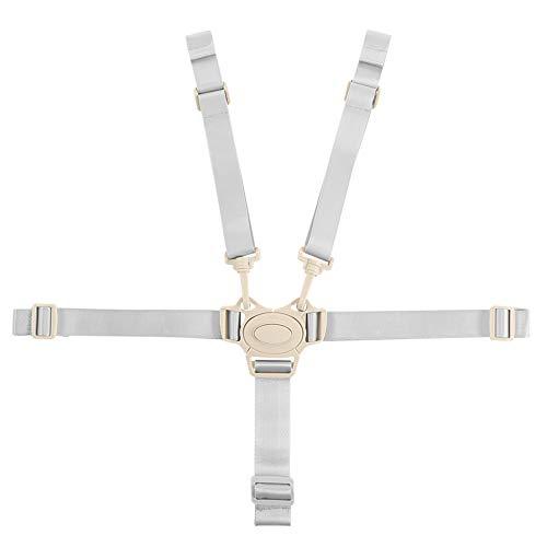 dorisdoll Cintura Sicurezza Bambini per Seggiolone 5 Punti Universale Regolabile Seggiolone Cintura Imbracatura per Passeggino Carrozzina (Fibbia Grigia)
