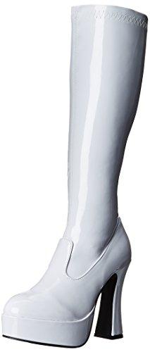 Ellie Shoes Women's Chacha Boots - 5-Inch Platform Go Go Boots, White, Size 9