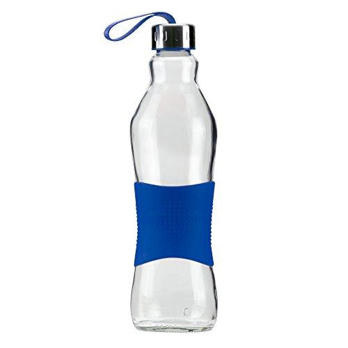 Grip & Go 1.0L Glas Wasserflasche/Kühlschrank Flasche - Rutschfester Silikongriff - Edelstahldeckel - Blaue