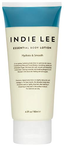 Indie Lee Essential Body Lotion - Daily Moisturizing Body Butter with Organic Ingredients, Shea + Cocoa Butter - Hydrating Cream for Soft, Supple Complexion - For All Skin Types (6oz / 180ml)