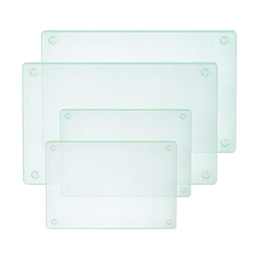 Square Tempered Glass Cutting Board Set, 4 Pcs, 11.75'x15.75' and 7.75'x11.75'Tableware Kitchen Decorative Trays with Non-slip Legs by Murrey Home