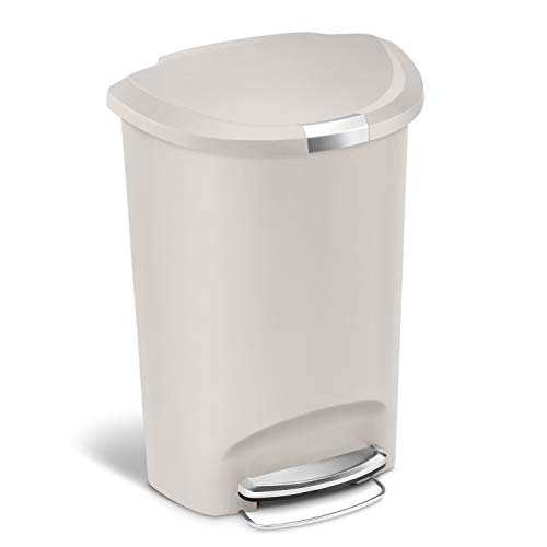 simplehuman 50 Liter / 13 Gallon Semi-Round Kitchen Step Trash Can, Stone Plastic With Secure Slide Lock