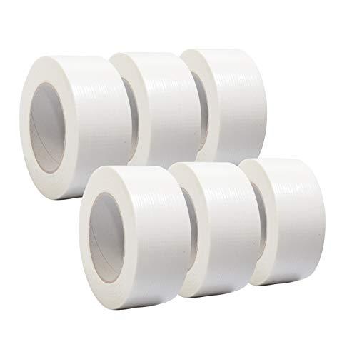 6 Rollen Premium Gewebeband in weiß | Panzertape | Panzerband | Klebeband | Gaffa Tape | 50mm x 50m