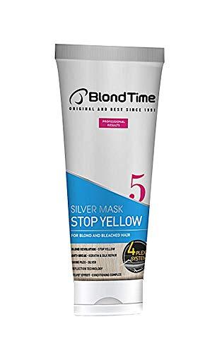 Mascarilla Silver Stop Yellow Blond Time especial para pelo gris, aclarado, decolorado, mechas o rubio muy claro, 200 ml - matizador anti-amarillo