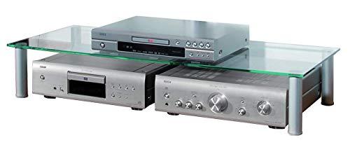 VCM TV Fernseh Aufsatz Ständer Monitor Bildschirm LCD LED Universal Rack Tisch 19x105x42cm Silber/Klarglas