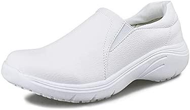 Hawkwell Women's Lightweight Comfort Slip Resistant Nursing Shoes,White PU,7 M US