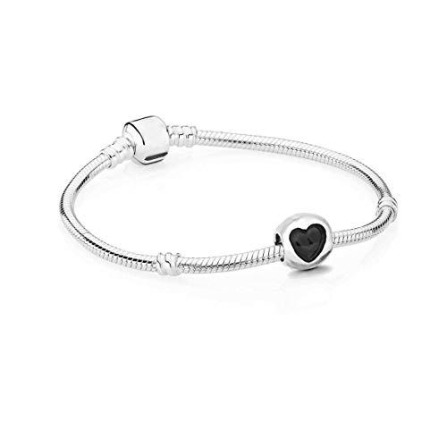 AKKi jewelry Damen Beads Charm Armband mit Anhänger Perle Set Charms bead Frauen Schmuck Silber 22cm