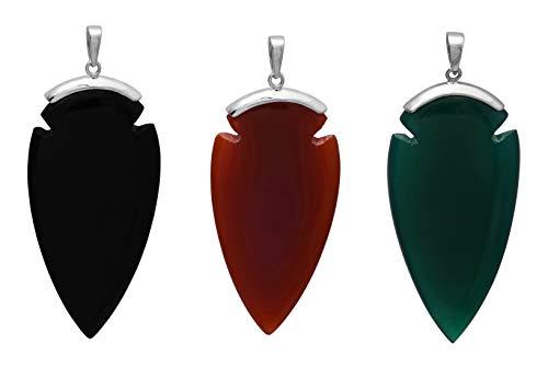 Shine Jewel Pendentif fait main composé de pierres précieuses en argent sterling 925 en forme de perle en 3 pièces pour femme Poire Rouge, Vert, Noir Onyx Blanc