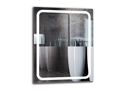 Espejo LED Premium - Dimensiones del Espejo 70x90 cm - Espejo de baño con iluminación LED - Espejo de Pared - Espejo de luz - Espejo con iluminación - ARTTOR M1ZP-58-70x90 - Blanco frío 6500K
