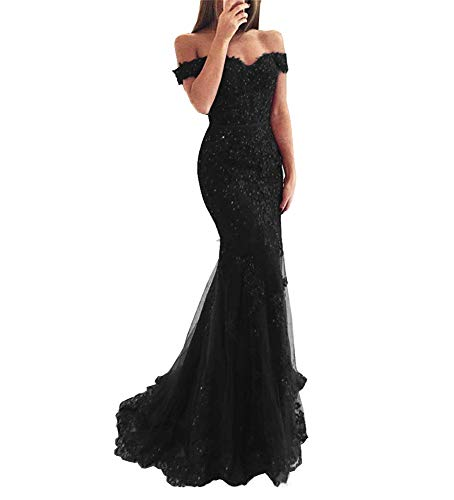 Off Shoulder Mermaid Prom Dress Long Floral Lace Open Back Tulle Evening Party Gown for Women Black