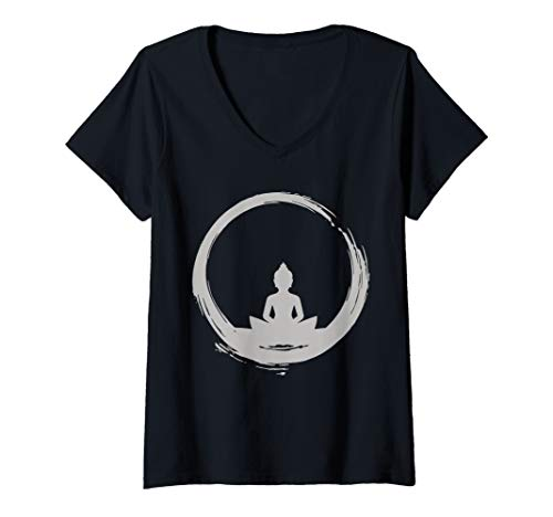 Womens Buddha - Zen Buddhism Meditation Japan Japanese Gift Yoga V-Neck T-Shirt
