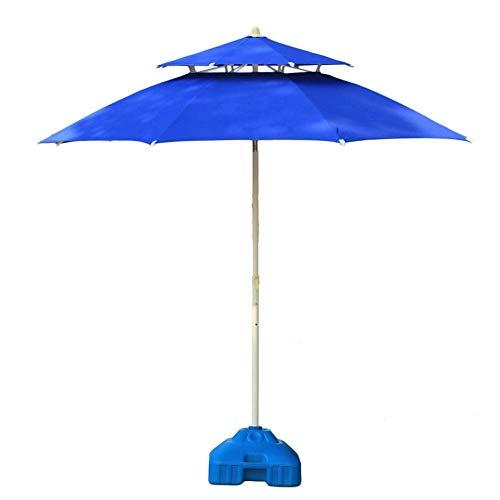 FEE-ZC Sombrillas Patio de Patio Doble Superior Azul, jardín al Aire Libre, Mercado de Eventos comerciales en la Playa, Camping, Lado de la Piscina (Color: Azul, tamaño: 9 pies/270 cm)