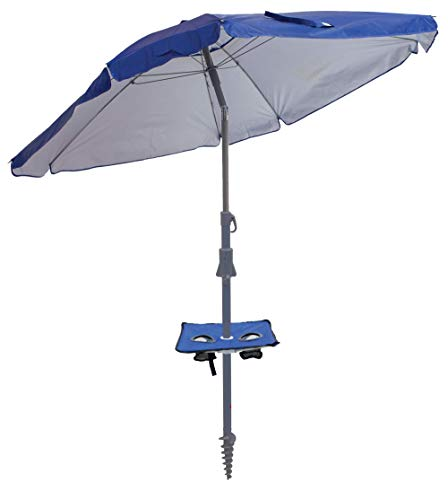 Rio Beach 7' Total Sun Block UPF 50+ Sun Umbrella with Folding Table and Integrated Sand Anchor - Blue