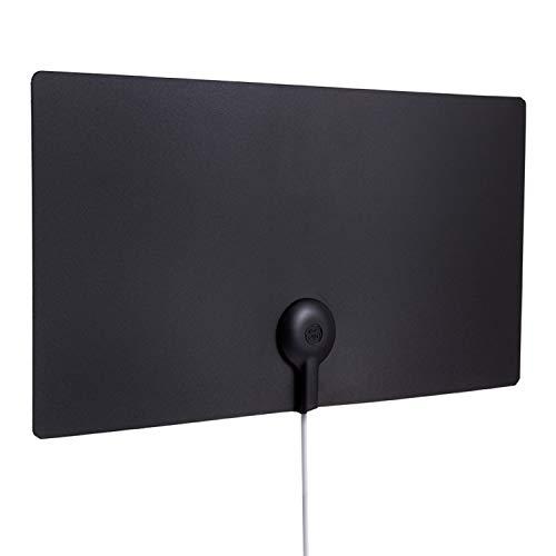 GE Ultra Edge Indoor TV Antenna, Slim Home Decor Reversible Black White, 4K 1080P VHF UHF, Long Range Antenna, Digital, HDTV Antenna, Smart TV Compatible, 6Ft Coaxial Cable, 11264