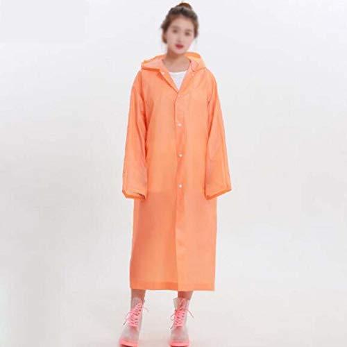 DongYuYuXuXi waterdichte regenjas voor mannen en vrouwen, ondoorlaatbare regenjas, met capuchon, dames, lange regenkleding, poncho, regenjas oranje