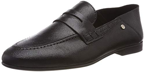 Tommy Hilfiger Damen Crackle METALLIC Flat Loafer Slipper, Schwarz (Black 990), 39 EU