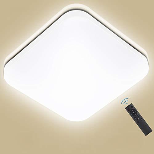 Oeegoo 24W Regulable LED de Luz de Techo Cuadrado, Lámpara de Techo LED de 2050 Lúmenes RA80 (Cambio de temperatura de color por el interruptor: 3000K/4000K/6000K)