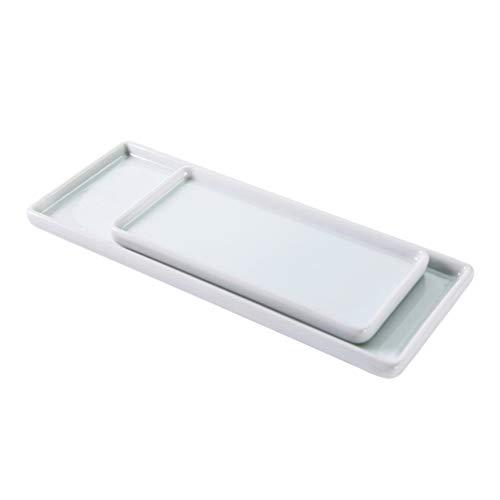 Yardwe Bandeja rectangular de cerámica blanca rectangular para guardar cepillos de dientes, para baño o cocina, bandeja de almacenamiento