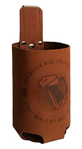 Bierholster Hopfen & Malz 0,5l – Das Original aus echtem Leder – Bier Bierhalter Bottlebag Flaschenhalter