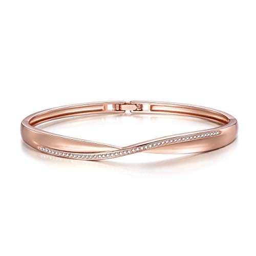 Philip Jones Rose Gold Arc Bangle Created with Austrian Crystals