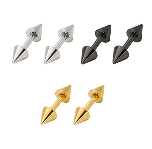Coniea Pendientes Titanio Pendiente Aro Plata Negro Oro 4Mm