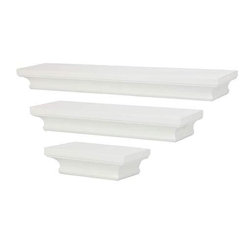 3 weiße schwebenden Regale | Set mit 3 Wandregalen | Zubehör für Regallager | Verkaufsregal | Dekorative Aufbewahrung für Büro, Bad und Schlafzimmer | M&W