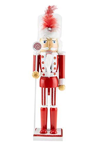 Clever Creations - schiaccianoci in Legno - Tema Caramelle - Decorazione Natalizia Tradizionale - da Collezione - Rosso, Bianco