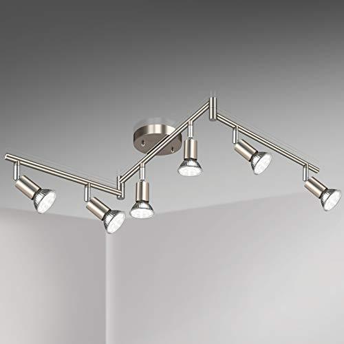 Unicozin LED 6 Light Track Lighting Kit, Matt Nickel 6 Way Ceiling Spot Lighting, Flexibly Rotatable Light Head, Modern Track Light Included 6 x LED GU10 Bulb (4W, Daylight White 5000K, 400LM)