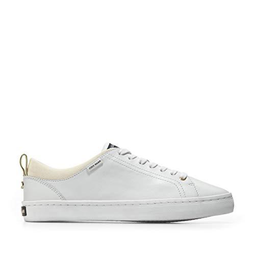 Cole Haan Zapatillas Coco para mujer, blanco (Cuero blanco óptico/ante/dorado), 40.5 EU