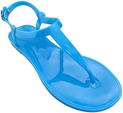 ZAIXO Women's Sandals Jelly Shoes Ladies Shoes Clip Toe Buckle Strap Woman Flats Beach Footwear Female Comfort Summer 2021 Plus Size Women Sandals (Color : Blue, Shoe Size : 8.5)