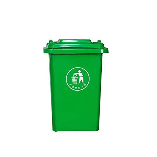 LIN-rlp Cocina de plástico Bote de Basura, con Tapa a Prueba de Agua Plaza Papelera Papelera Antideslizante Puede fácil de Limpiar Unidad de Almacenamiento de Bin (Color : Green, Size : 30L)