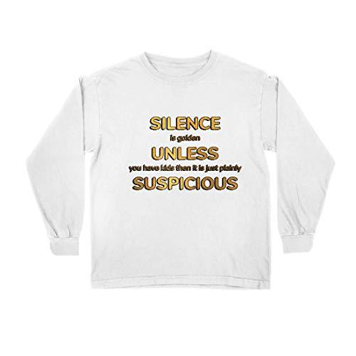 lepni.me Camiseta para Niño/Niña El Silencio es Oro. A Menos Que tengas Hijos. Cotización Familiar (9-11 Years Blanco Multicolor)