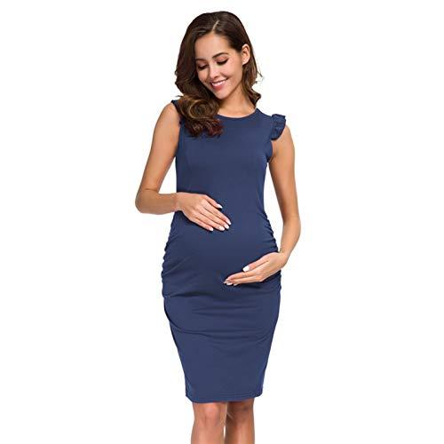 ZXQC Vestidos De Maternidad Frontados del Lado De Los Volantes, Vestidos De Bodycon De Embarazo Elegante para Ducha De Bebé O Desgaste Casual (Color : D, Size : L)