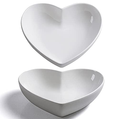 Keponbee Ceramic Large Heart Plate Deep Heart-shaped Bowl White Set of 2 Salad Bowl/Fruit Bowl/Soup Bowl for Desserts/Pasta/Dinner 8 inch