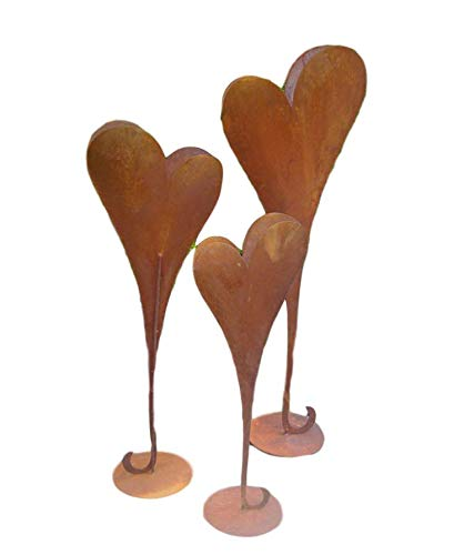 terracotta-toepfe-de Herz 115 cm aus Metall, bepflanzbar in Edelrost Optik, Deko für Garten und Wohnung Valentinstag