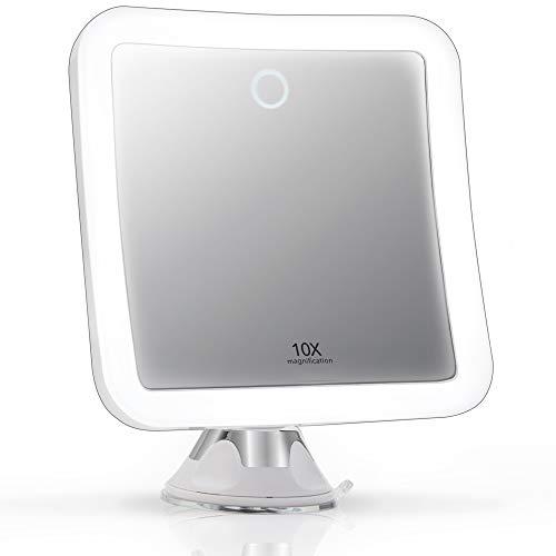 Fancii Espejo de Aumento 10x Recargable para Maquillaje con 3 Configuraciones de Luz LED - Táctil Regulable, Poderoso Ventosa - Espejo Iluminado de Baño (Mira 2)