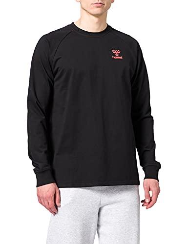 hummel Hmlaction Cotton Sweatshirt Felpa, Nero/Fiesta, L Unisex-Adulto