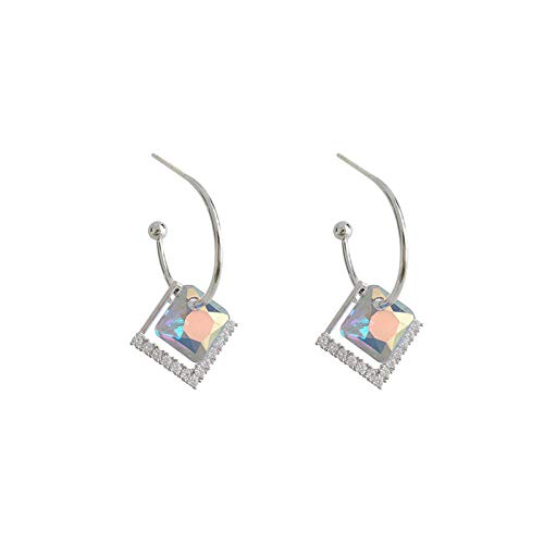 Women's long earrings Simple illusion square zirconium diamond temperament high sense of atmosphere earrings 925 sterling silver earrings beautiful package Can be used as a gift